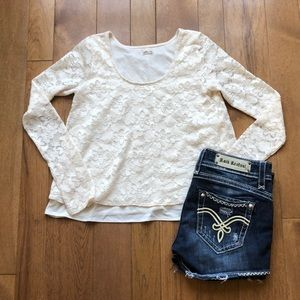 Hollister Small Cream Lace l/s Top